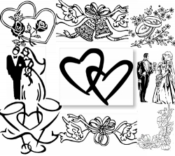 Wedding Design Clipart black and white