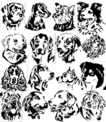 Dog Breed Clipart black and white