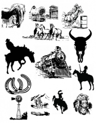 Western Clip Art #1 Black and White Vector Art