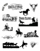 Western Clip Art #2 Black and White Vector Art